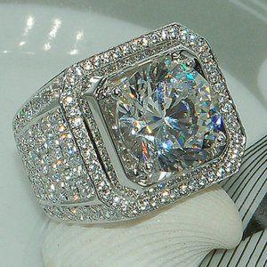 NEW💎925 Sterling Silver Men's Diamond Halo Ring